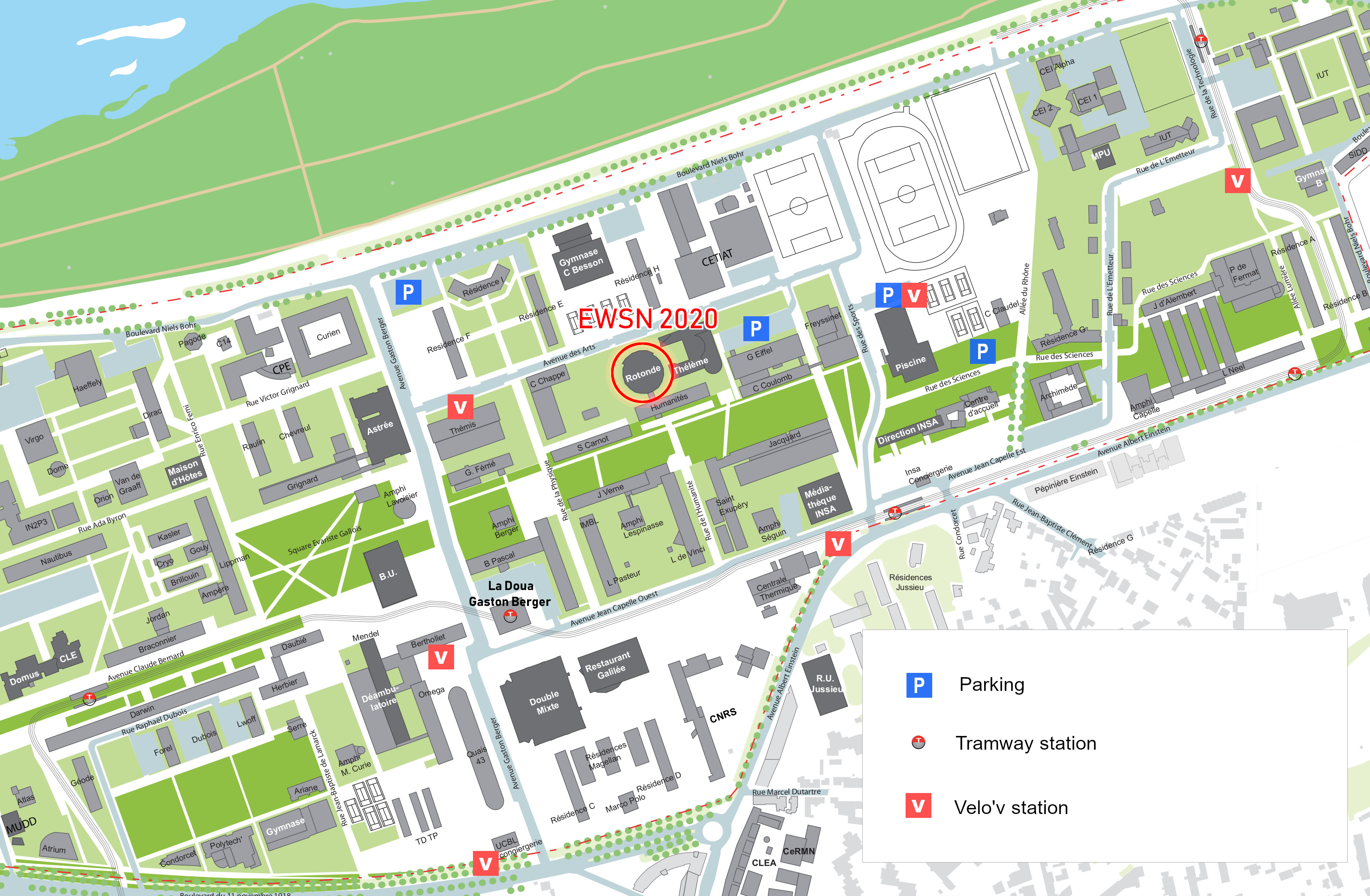 Map of La Doua campus